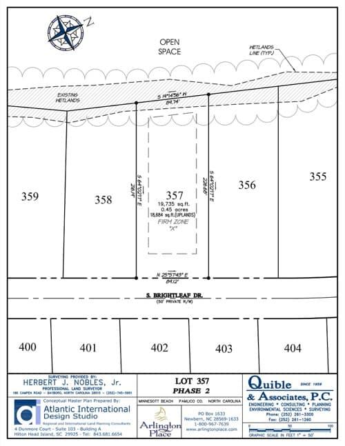 Arlington Place homesite 357 plat map.