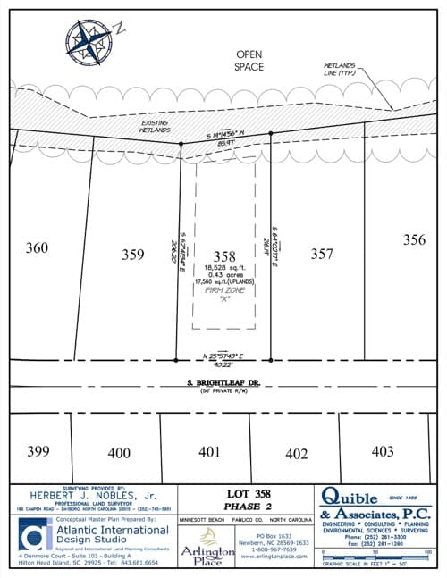 Arlington Place homesite 358 plat map.