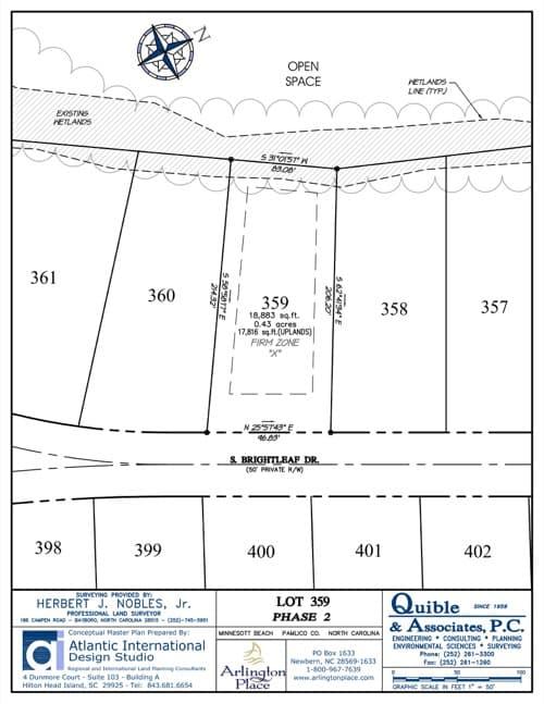 Arlington Place homesite 359 plat map.