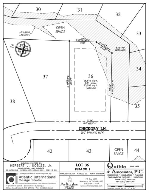 Arlington Place homesite 36 plat map.