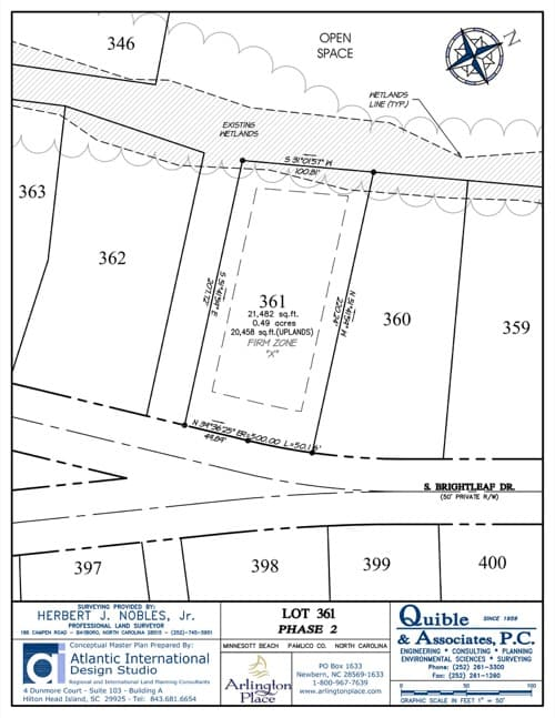 Arlington Place homesite 361 plat map.