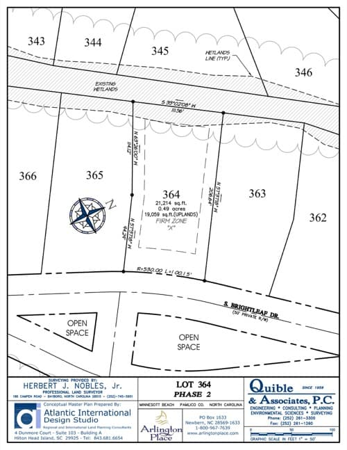 Arlington Place homesite 364 plat map.