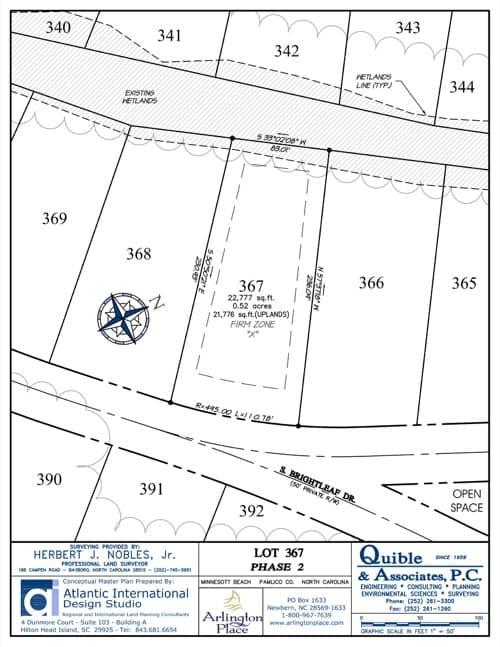 Arlington Place homesite 367 plat map.