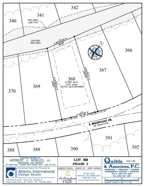 Arlington Place homesite 368 plat map.