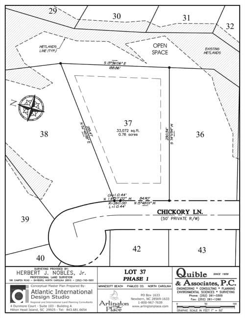 Arlington Place homesite 37 plat map.