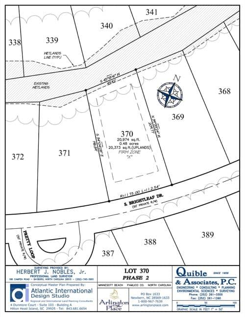 Arlington Place homesite 370 plat map.