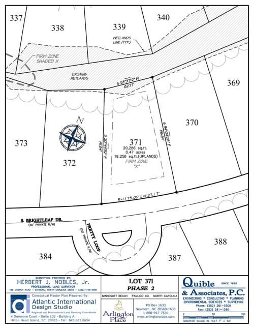 Arlington Place homesite 371 plat map.