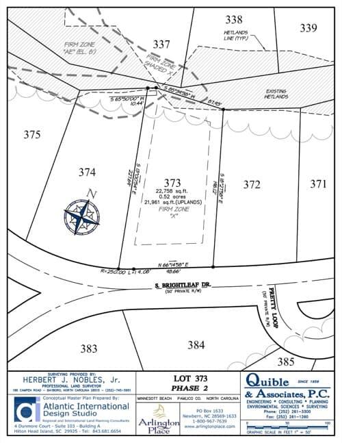 Arlington Place homesite 373 plat map.