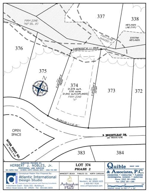 Arlington Place homesite 374 plat map.