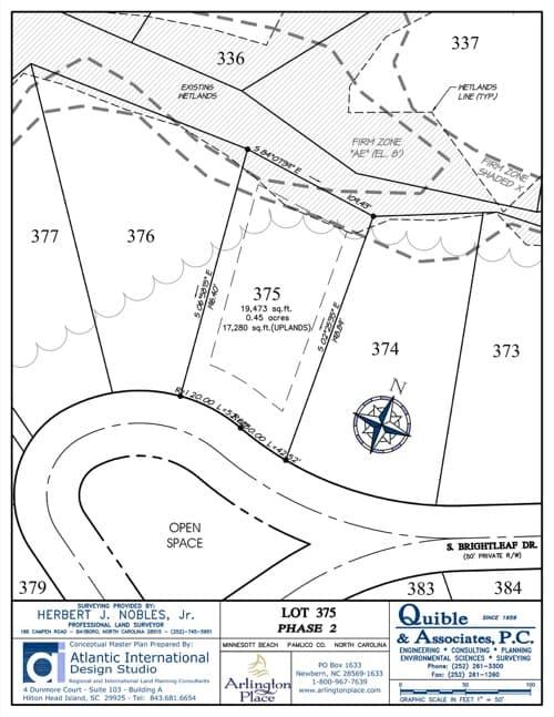 Arlington Place homesite 375 plat map.
