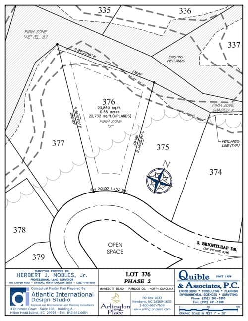 Arlington Place homesite 376 plat map.