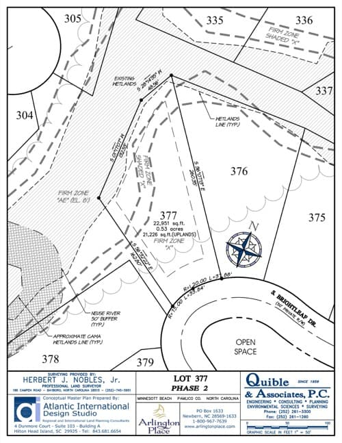 Arlington Place homesite 377 plat map.