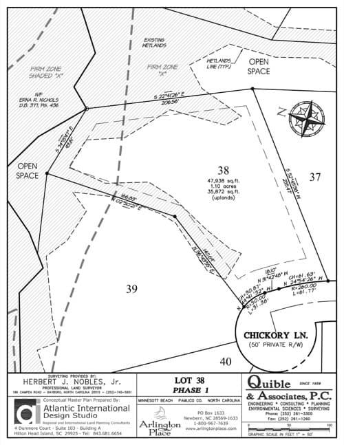 Arlington Place homesite 38 plat map.