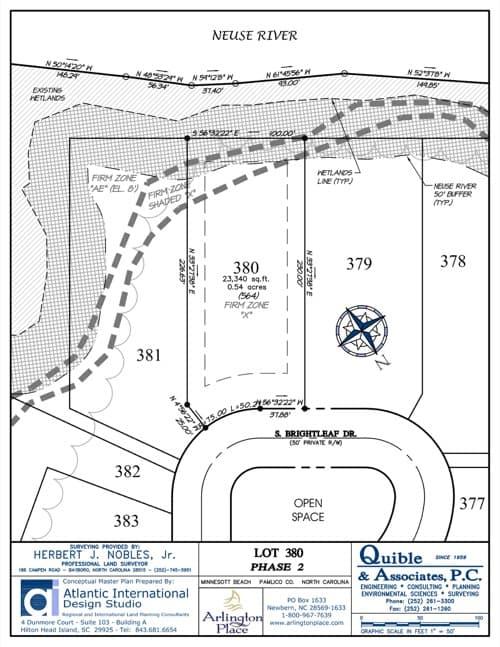 Arlington Place homesite 380 plat map.
