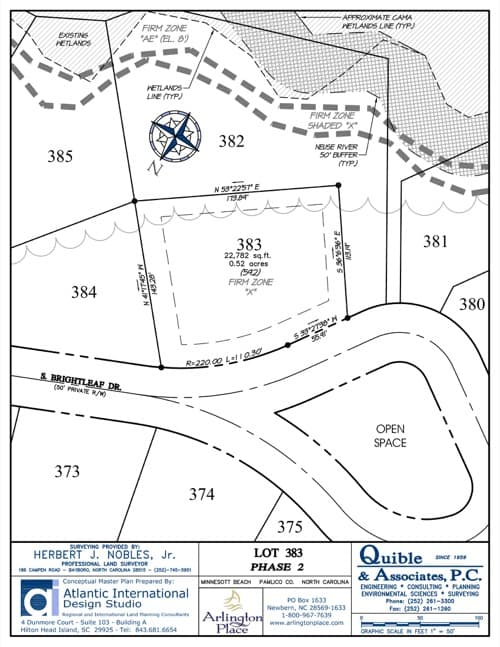 Arlington Place homesite 383 plat map.