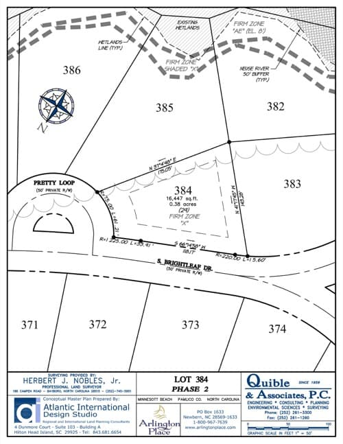 Arlington Place homesite 384 plat map.