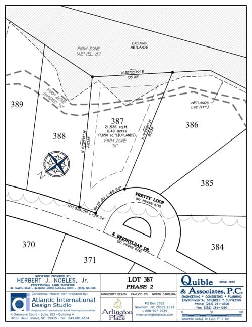 Arlington Place homesite 387 plat map.