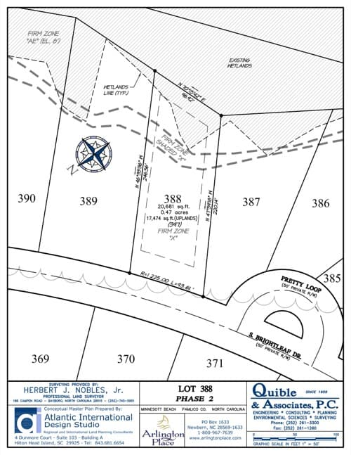 Arlington Place homesite 388 plat map.
