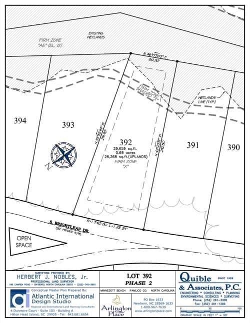 Arlington Place homesite 392 plat map.