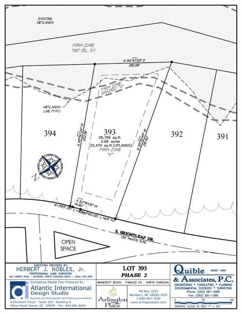 Arlington Place homesite 393 plat map.