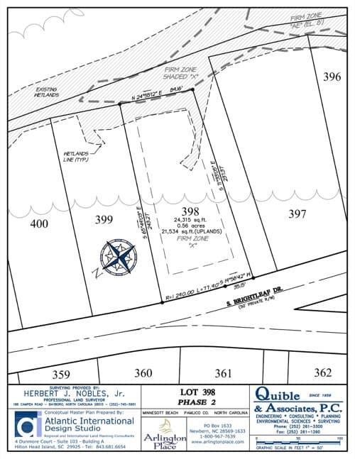 Arlington Place homesite 398 plat map.