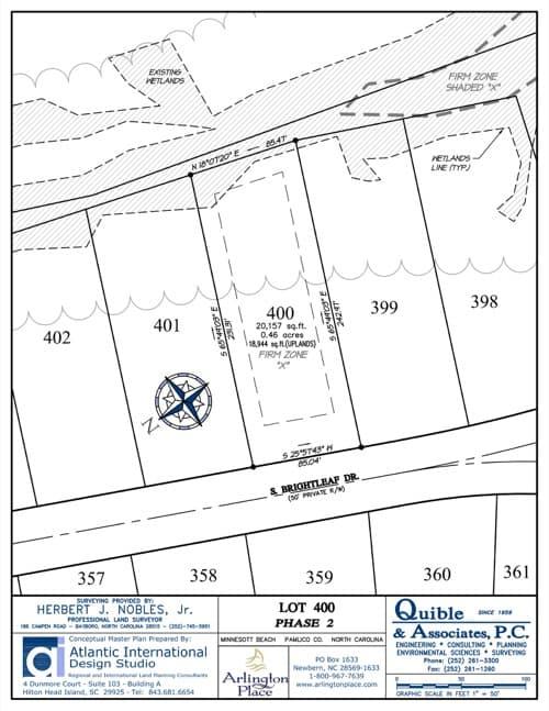 Arlington Place homesite 400 plat map.