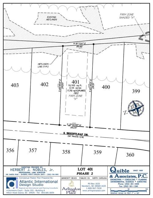 Arlington Place homesite 401 plat map.