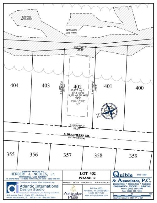 Arlington Place homesite 402 plat map.