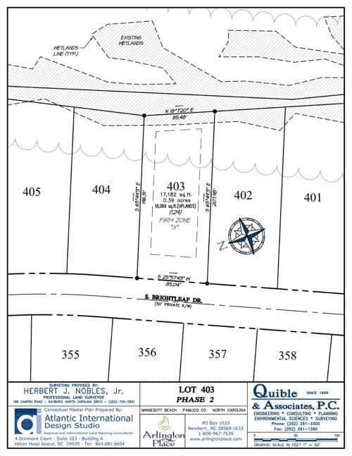 Arlington Place homesite 403 plat map.