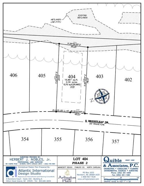Arlington Place homesite 404 plat map.