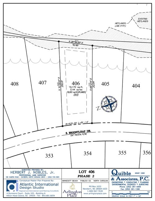 Arlington Place homesite 406 plat map.