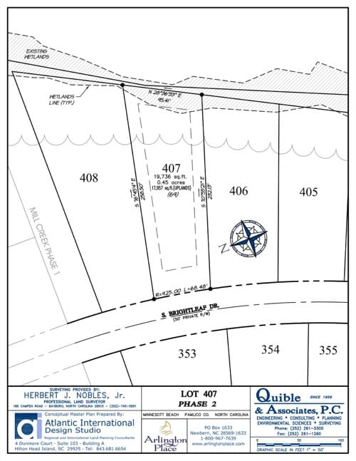 Arlington Place homesite 407 plat map.