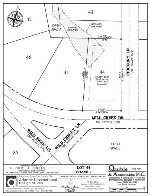 Arlington Place homesite 44 plat map.