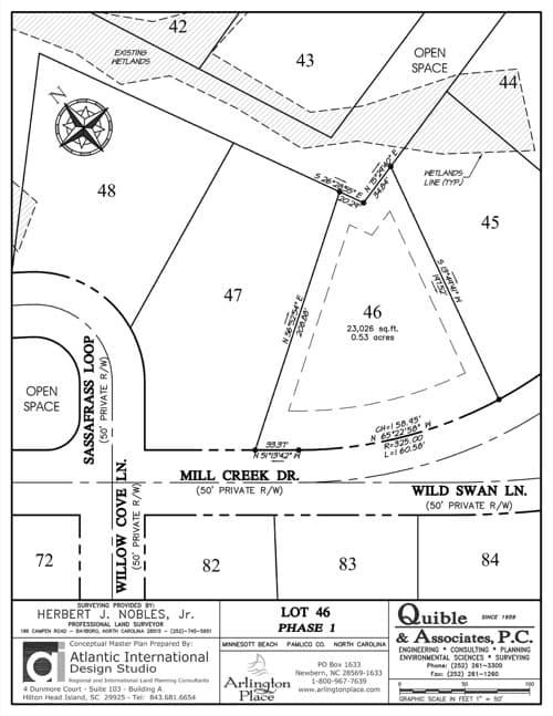 Arlington Place homesite 46 plat map.