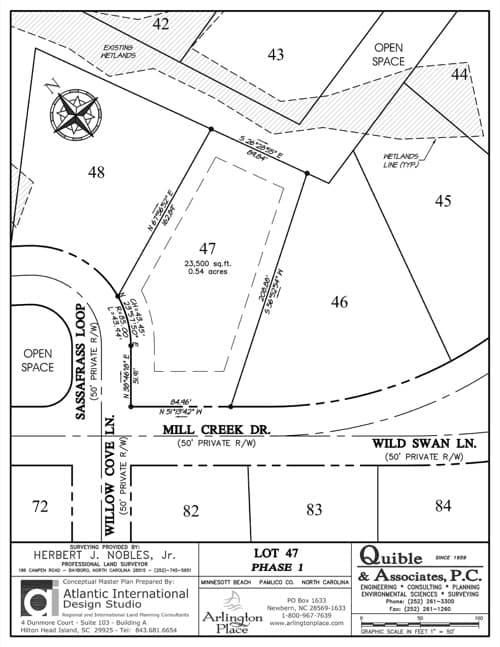 Arlington Place homesite 47 plat map.