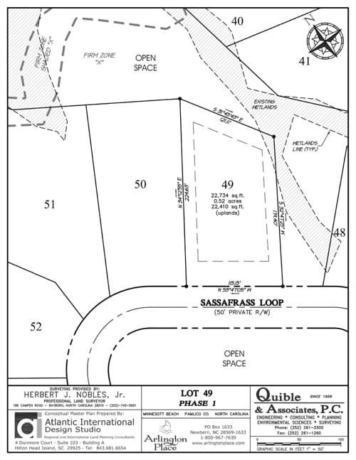 Arlington Place homesite 49 plat map.