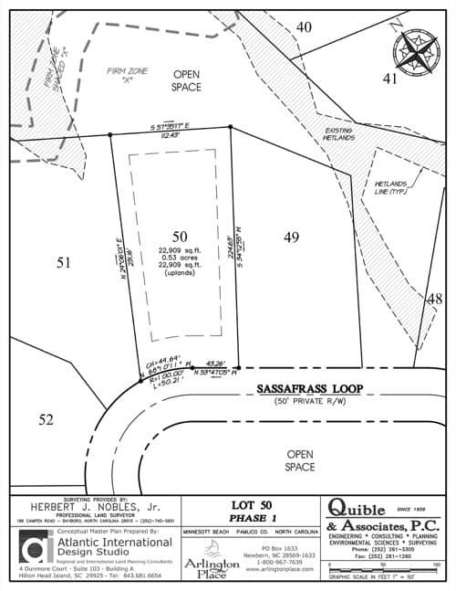 Arlington Place homesite 50 plat map.