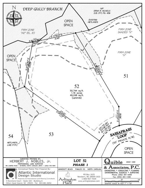 Arlington Place homesite 52 plat map.
