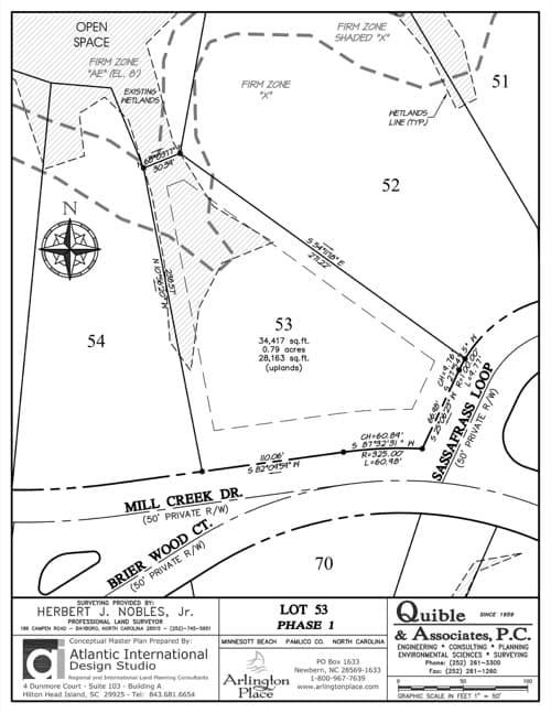 Arlington Place homesite 53 plat map.