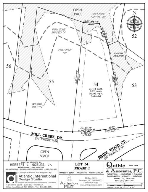 Arlington Place homesite 54 plat map.