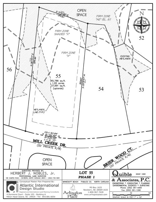 Arlington Place homesite 55 plat map.