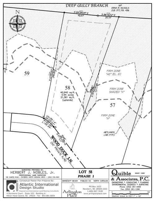 Arlington Place homesite 58 plat map.