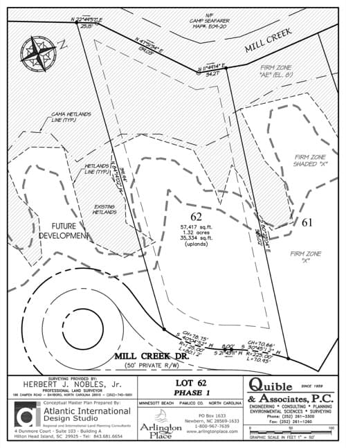 Arlington Place homesite 62 plat map.