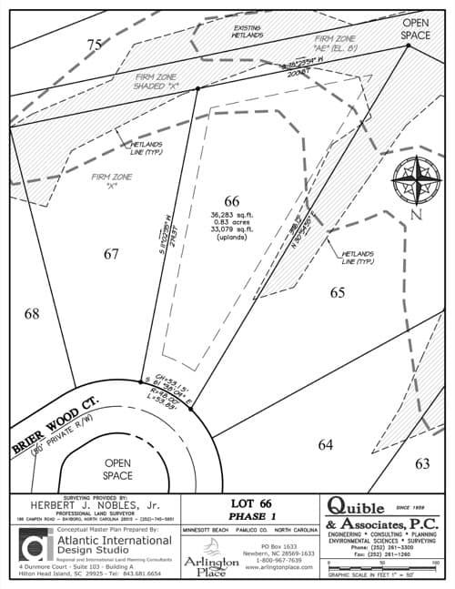 Arlington Place homesite 66 plat map.