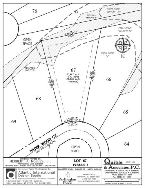Arlington Place homesite 67 plat map.