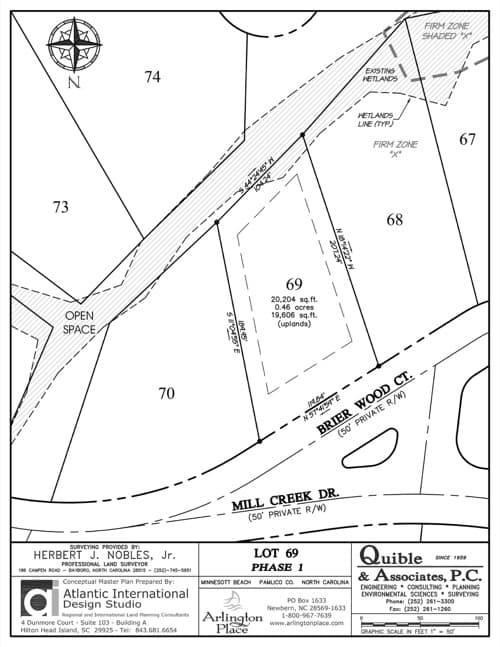 Arlington Place homesite 69 plat map.