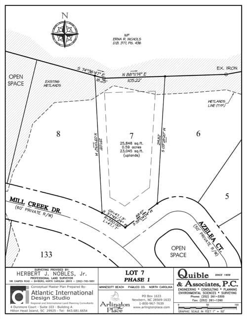 Arlington Place homesite 7 plat map.