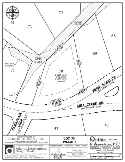Arlington Place homesite 70 plat map.