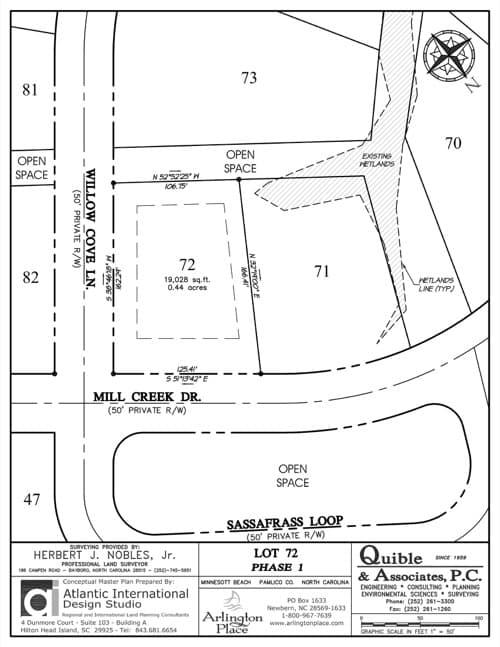 Arlington Place homesite 72 plat map.