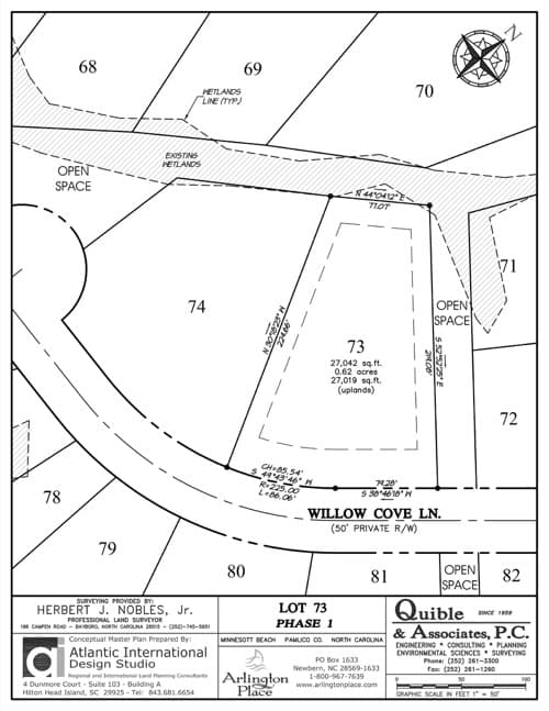 Arlington Place homesite 73 plat map.